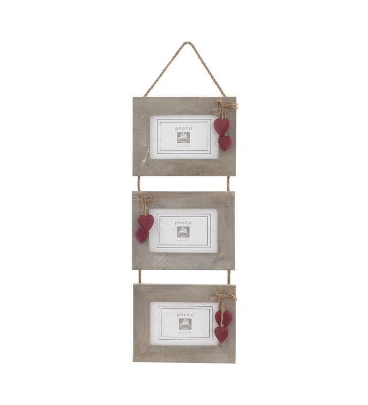 Triple Picture Frame, Driftwood style with Red wooden painted hearts.