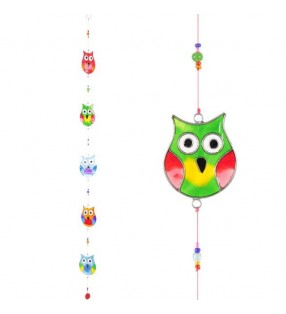 Windhorse Multi Coloured Five String Resin Owl Sun Catcher.