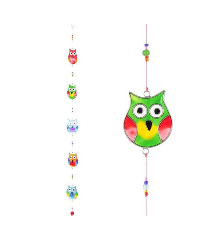 Windhorse Multi Coloured Five String Resin Owl Sun Catcher.
