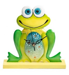 Colourful Funky Metal Fair Trade Frog Clock on Stand