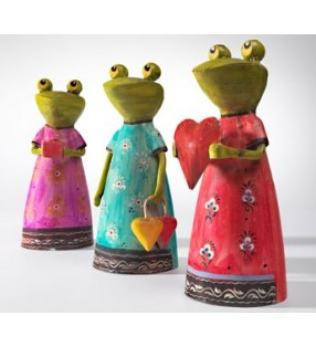 Quirky Fair Trade Hand Painted Iron Frog in a Dress
