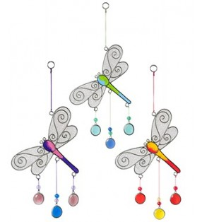 Beautiful Fair Trade Rainbow Resin Beaded Dragonfly Suncatcher