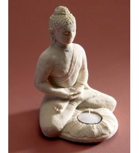 Fair Trade White Sand Buddha with Tealight
