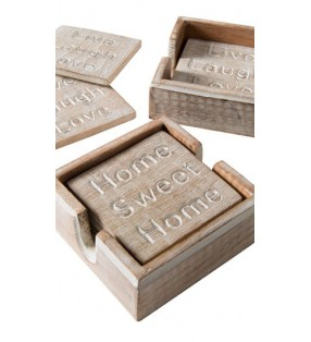 Set of Four Fair Trade Wooden Coasters with Carved Message