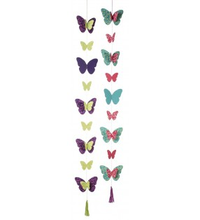 Fair Trade String of Butterflies Hanging Paper Garland