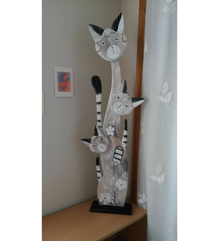 Fair Trade Wooden, Painted Cat and Kittens Shabby Chic Statue. 100 cm