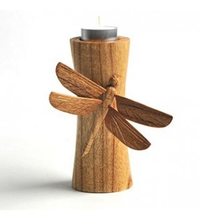Fair Trade Wooden Hand Carved Dragonfly Tea Light Holder