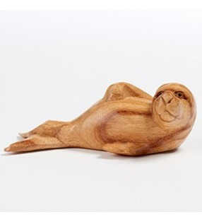 Fair Trade Hand Carved Natural Wooden Sea Lion