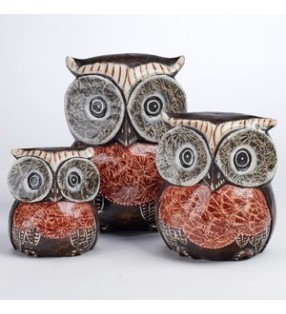 Set of Three Large Fair Trade Hand Carved, Painted Owls. 20,15,10 cm