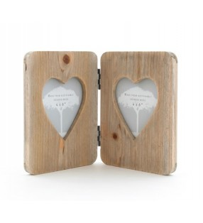 Ethically Sourced Driftwood Heart Rustic Double Folding Picture Frame