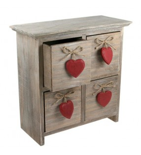 Shabby Chic Driftwood Four Drawers With Red Hearts