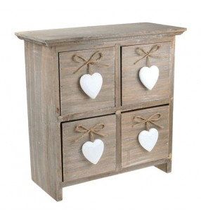 Shabby Chic Driftwood Four Drawers With White Hearts