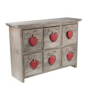 Shabby Chic Driftwood Six Drawers With Red Hearts