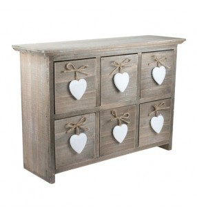 Shabby Chic Driftwood Six Drawers With White Hearts