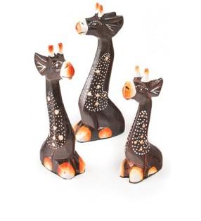 Three Fair Trade Hand Carved Mini Giraffe Statues 15 cm, 12 cm, 10 cm