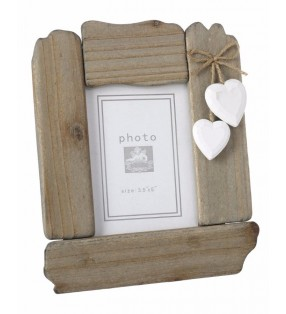 Rustic Picture Frame, Driftwood style with White wooden painted hearts.