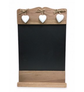 Rustic Shabby Chic Wooden Wall Hanging Chalkboard with White Wooden Hearts