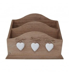 Rustic Shabby Chic Wooden Letter Recipe Card Note Rack with White Hearts