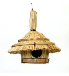 Fair Trade Round Tiki Design Straw Bird House