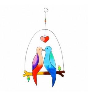 Fair Trade Rainbow Resin Two Doves Suncatcher