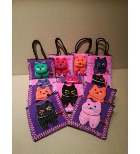 Cute Fair Trade Fabric Pussy Cat Purse With Handles