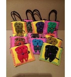 Cute Fair Trade Fabric Puppy Dog Purse With Handles