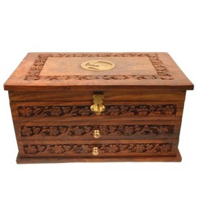Fair Trade Shesham Wood Jewellery Box With Drawers