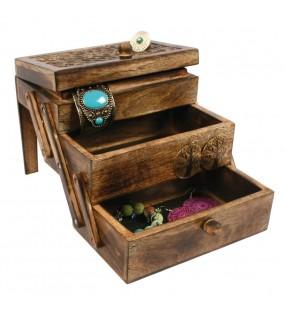 Fair Trade Indian Mango Wood Sliding Jewellery Trinket Box
