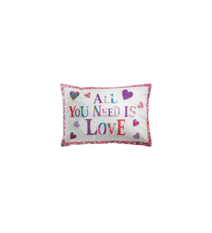 Beautiful Fair Trade Applique Cushion Cover All You Need Is Love
