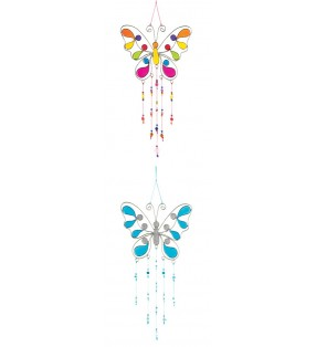 Beautiful Fair Trade Resin Beaded Butterfly Suncatcher Lightcatcher