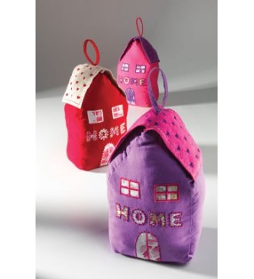 Fair Trade Cotton And Felt House And Home Doorstop Pink Purple Red