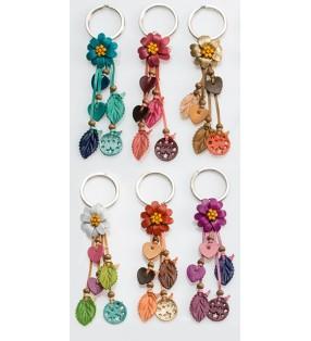 Fair Trade Leather Floral Keyring Bag Charm
