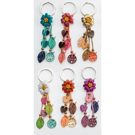 Fair Trade Leather Floral Keyring Bag Charm