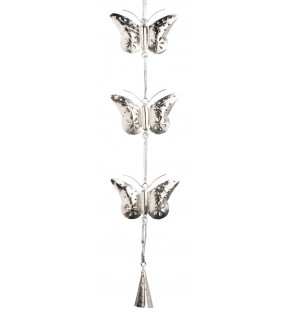 Fair Trade Three String Hanging Silver Cutwork Nickel Plated Iron Butterflies And Bell Garland