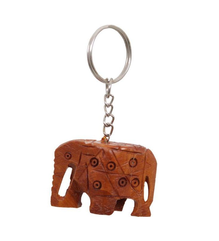Wooden Hand Carved Elephant Key Ring