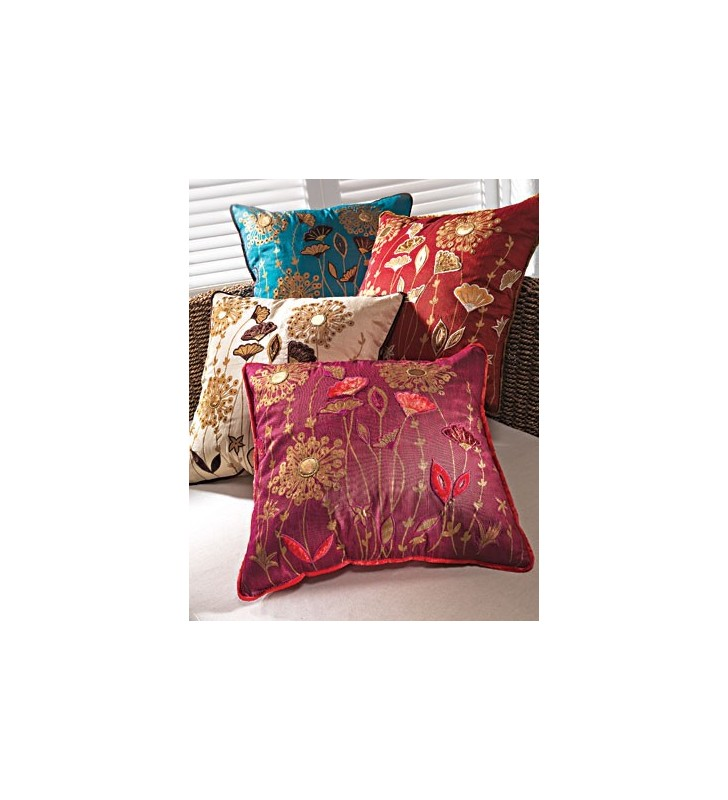 Beautiful Fair Trade Floral Printed Applique Cushion Cover