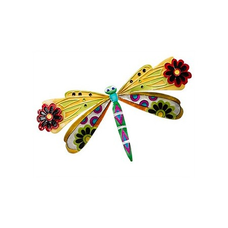 Small Fair Trade Handmade Wall Hanging Metal Capiz Dragonfly