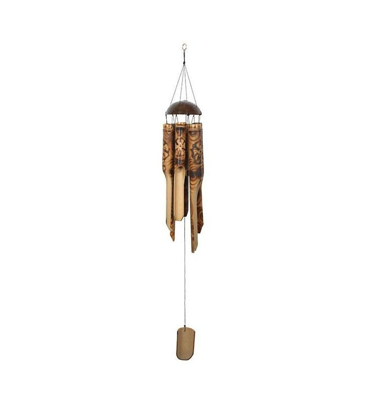 Large Ethical Handmade Bamboo Coconut Windchime Burnt Floral Motif