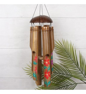 Large Ethical Handmade Bamboo Coconut Hand Painted Hibiscus Windchime
