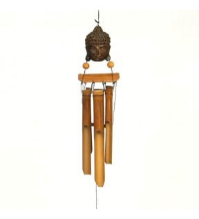 Medium Fair Trade Coconut Bamboo Thai Buddha Head Wind Chime