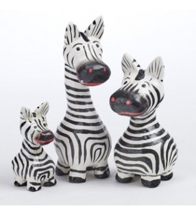 Three Fair Trade Hand Carved Mini Cartoon Zebra Statues 10 cm, 8 cm, 5 cm