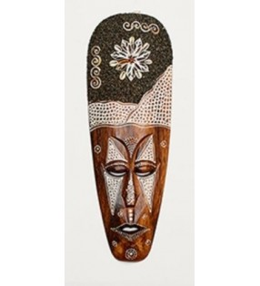 Fair Trade Hand Carved Tribal Lombok Sand Shell Wall Mask