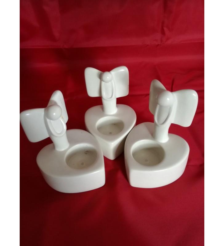 Tabaka Chigware Natural Hand Carved Kisii Soapstone Angel Heart Tea Light Holder