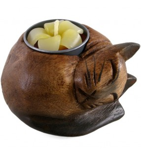 Wooden Curled Cat Tea Light Holder