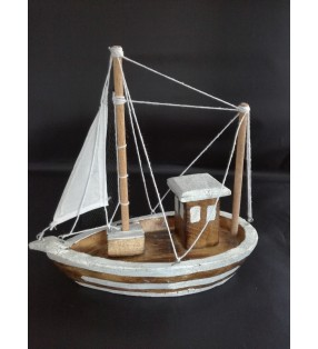 Fair Trade Wooden Nautical Fishing Boat Trawler Model