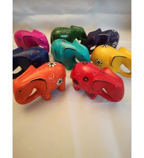 Tabaka Chigware Hand Carved Painted Kisii Soapstone Hand Dyed Bright Elephants