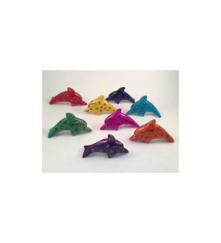 Tabaka Chigware Hand Carved Painted Kisii Soapstone Hand Dyed Bright Dolphin