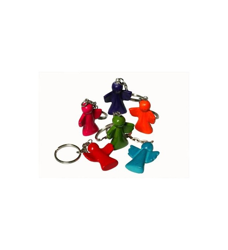 Tabaka Chigware Hand Carved Painted Kisii Soapstone Hand Carved Dyed Angel Key Ring