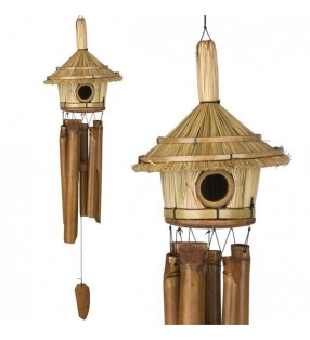 Fair Trade Tiki Hut Design Bird House With Bamboo Wind Chimes
