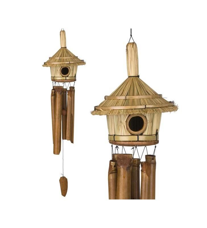 Fair Trade Tiki Hut Design Bird House With Bamboo Wind Chimes